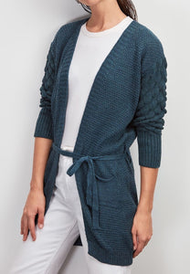 Belted pocket cardigan - petroleum blue