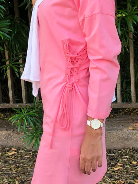 Cotton tunic top with rope details-pink