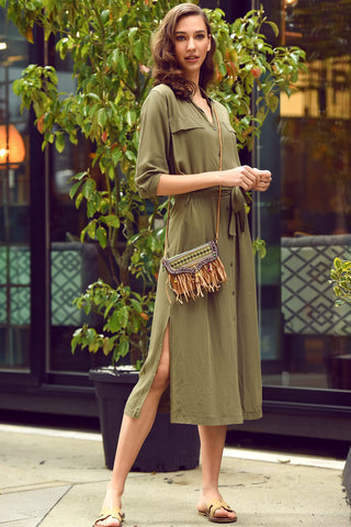 Long shirt dress- olive green