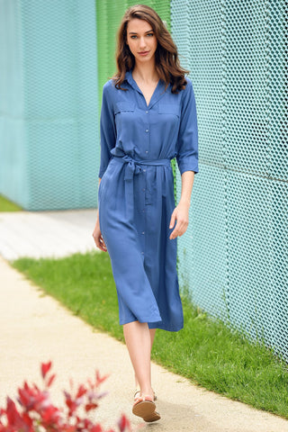 Long shirt dress- blue