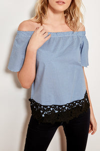 Off shoulder checkered top with lace hem
