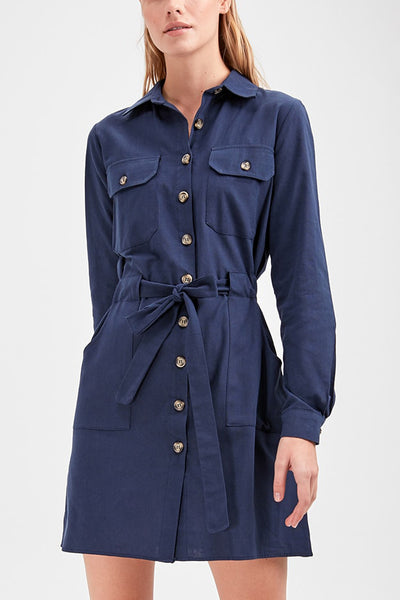 Belted shirt dress- Navy