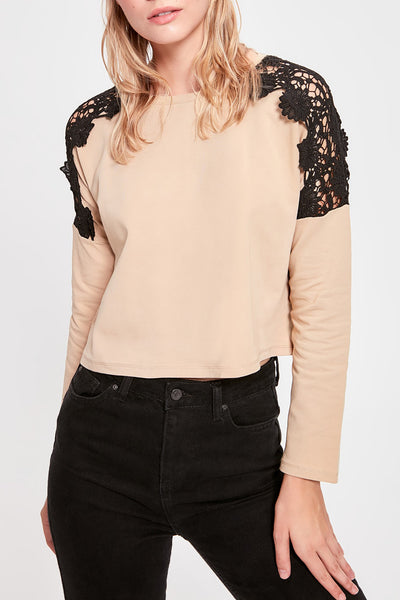 Lace shoulders crop top- beige