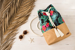 Drawstring packbag- Tropical flowers- black