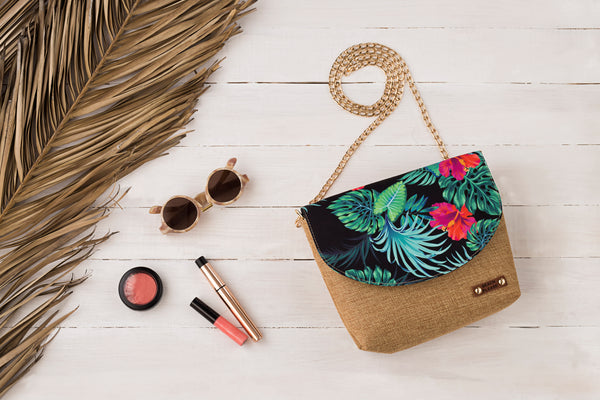 Chain shoulder bag- tropical flowers- black