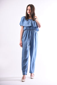One shoulder denim jumpsuit