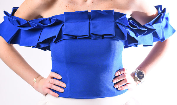 Ruffled off shoulder top-royal blue