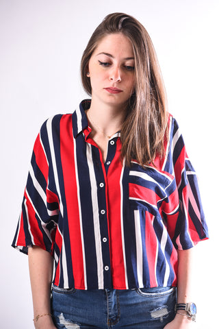 Stripped shirt-red & navy