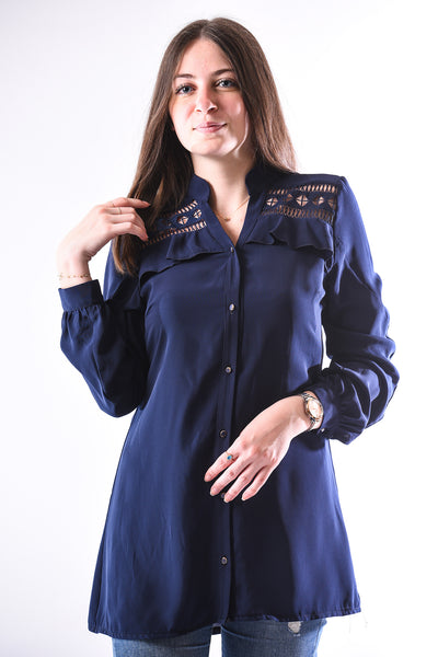 Embroidered frilled collar shirt- navy blue