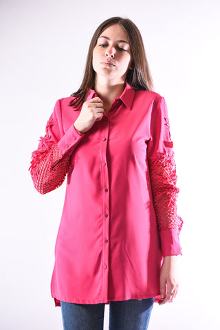 Floral applique long sleeve shirt- Fuschia
