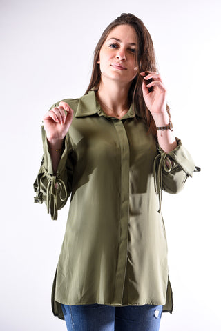 Button embellished long sleeves- olive green