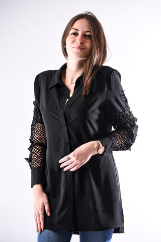 Floral applique long sleeve shirt- black