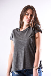 Lace-Up Side Corset T-Shirt- anthracite