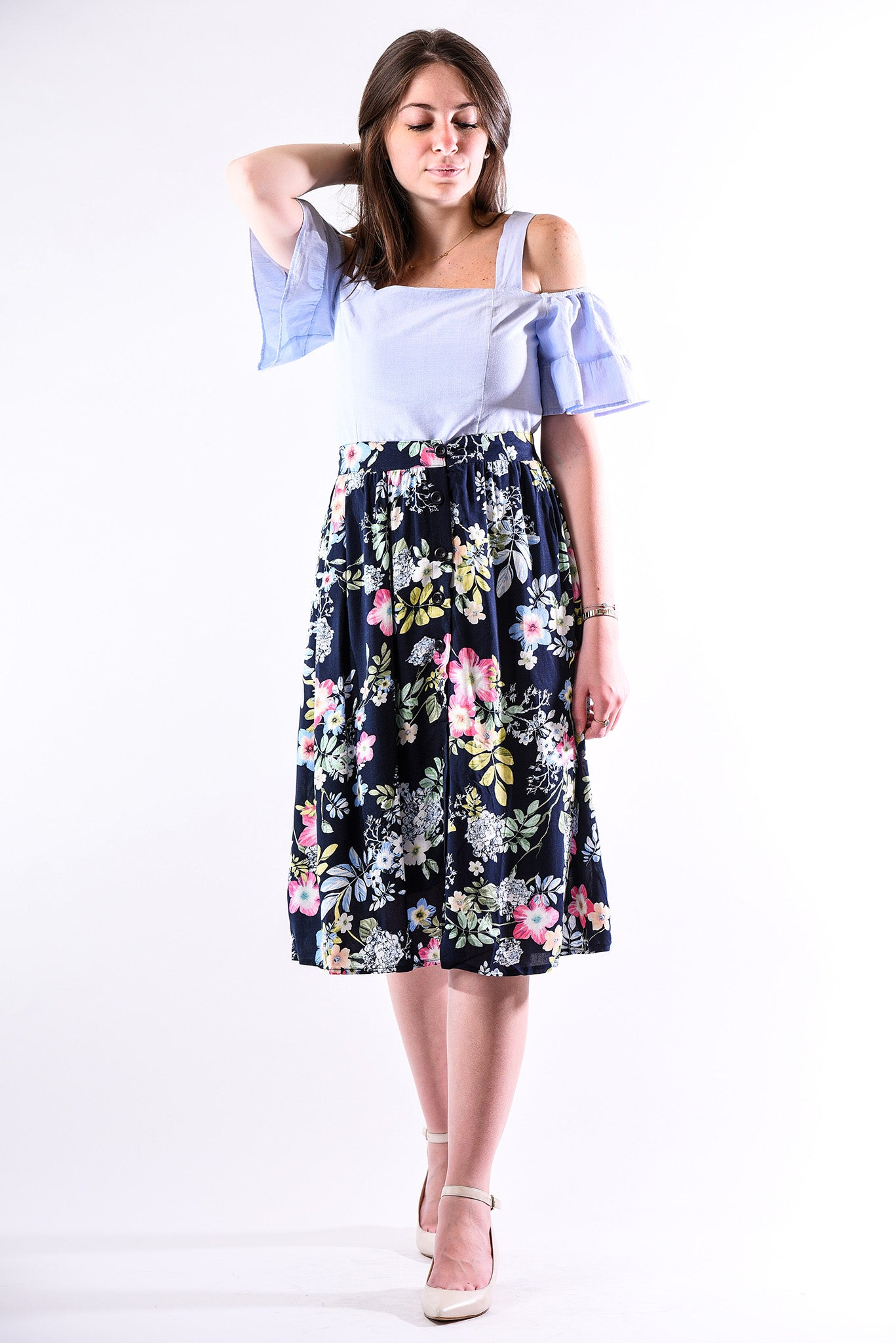 Floral midi skirt with buttons - navy