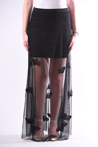 Black tulle skirt with butterflies apliques