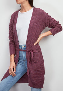 Belted pocket cardigan - purple