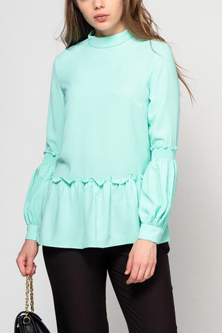 Mint green frilled top