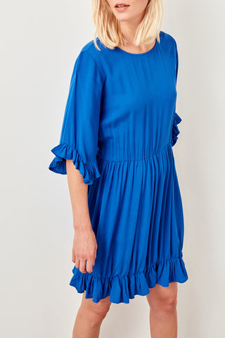Ruffled trim dress-royal blue