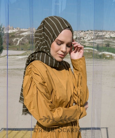 Stripes cotton shawl-army green