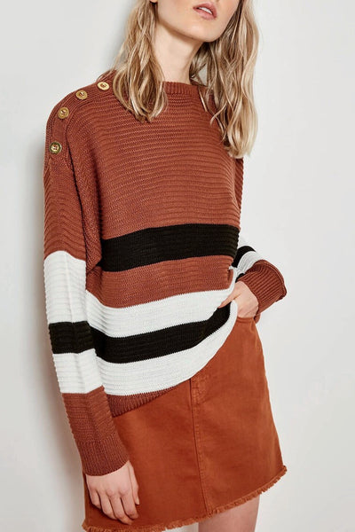 Buttons detail oversized knit top- brown