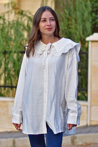 Frilled collar oversized shirt