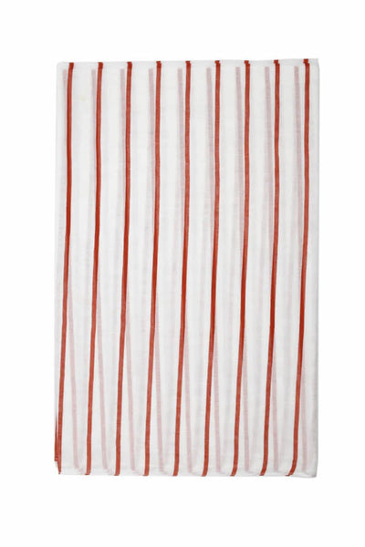 Stripes cotton shawl-white & brick orange