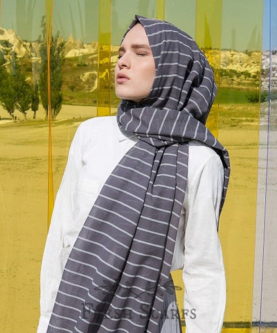 Stripes cotton shawl-grey