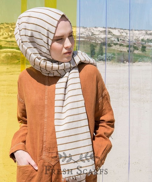 Stripes cotton shawl-beige & brown