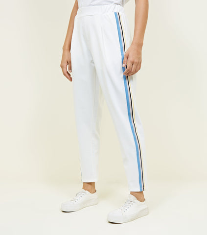 white jersey striped pants