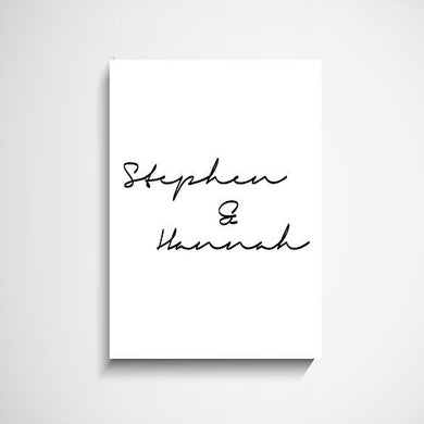 Couples custom script name wall art print Wall Art Print - Yorkelee Prints Australia