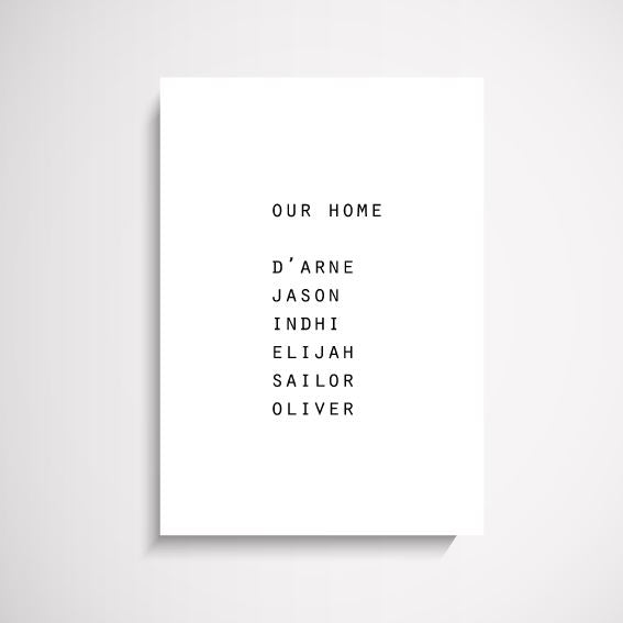Custom 'Our Home' family names wall art print Wall Art Print - Yorkelee Prints Australia
