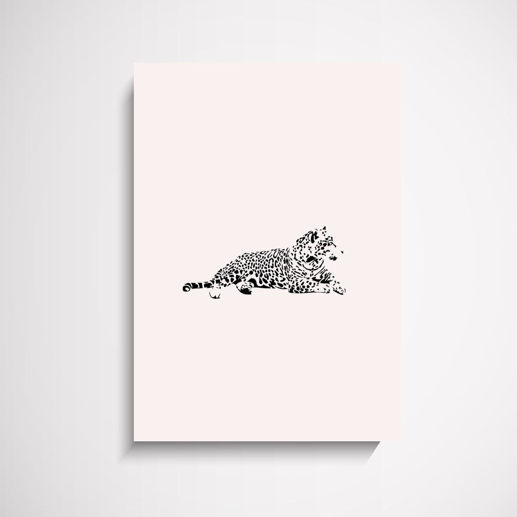 Feed Me Leopard animal illustration wall art print Wall Art Print - Yorkelee Prints Australia