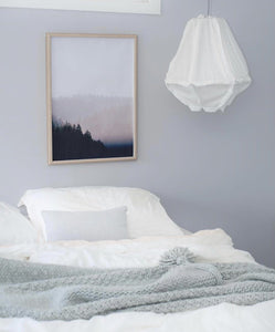 wall art prints pink and blue forest bedroom interior art