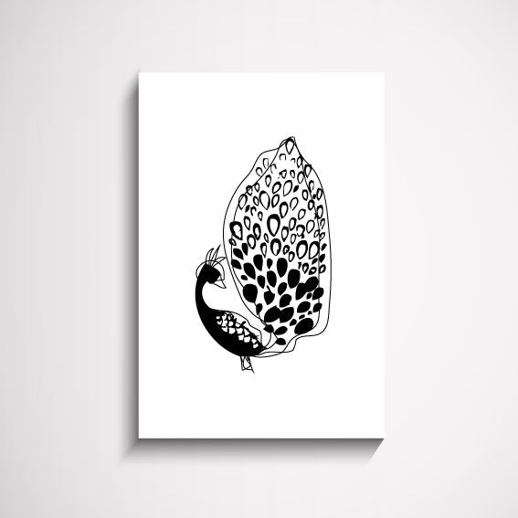 Hello Lovely Peacock illustration wall art print Wall Art Print - Yorkelee Prints Australia