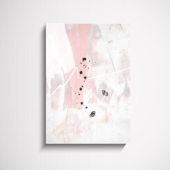 Mia Abstract pink and white interior art print Wall Art Print - Yorkelee Prints Australia