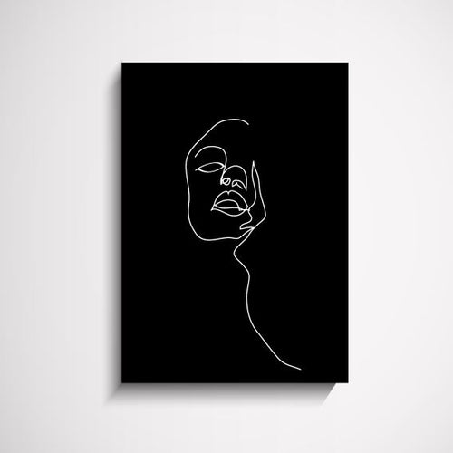 Reflections abstract face illustration Black wall art print Wall Art Print - Yorkelee Prints Australia