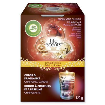 Air Wick Life Scents Colour & Fragrance Changing Candle - Spiced Apple Crumble, 120g - Larry The Liquidator