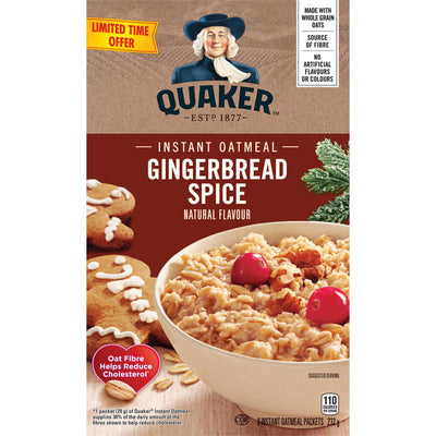 Quaker Gingerbread Spice Instant Oatmeal, 232g - Larry The Liquidator