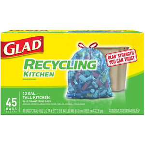 Glad Tall Kitchen Drawstring Blue Recycling Trash Bags, 45 Bag Count - Larry The Liquidator
