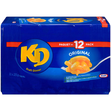Kraft Dinner Original Macaroni & Cheese 225g, Case Pack of 12 - Larry The Liquidator