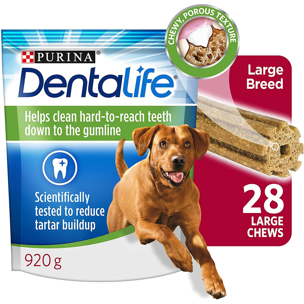 Purina DentaLife Daily Oral Care, Dental Dog Treats for Large Breed Dogs - 28 ct Pouch - Larry The Liquidator