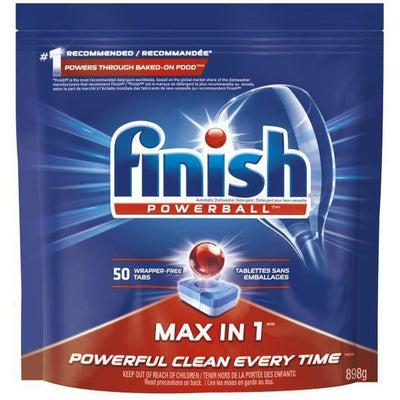Finish Dishwasher Detergent, Max in 1 Powerball Super Charged, Fresh, 50 Tablets, 898g - Larry The Liquidator