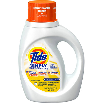 Tide Simply Free & Sensitive, Unscented Laundry Liquid Detergent, Unscented, 25 Loads 40 fl oz. - Larry The Liquidator