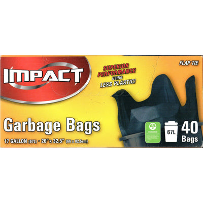 Impact Garbage Bags 17 Gallon - 40 Bags - Larry The Liquidator
