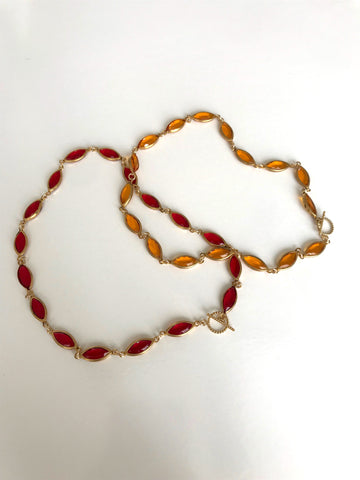 Sun Chain Necklace in Ruby - Jodie Guirey