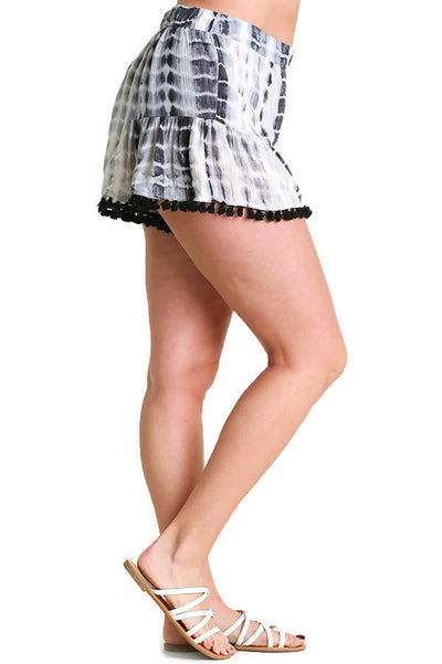 Tie Dye Shorts With Tassel Trim, Black