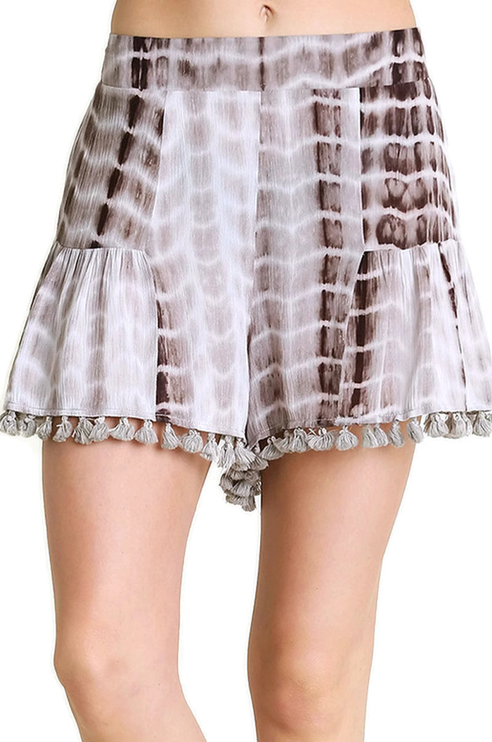 Tie Dye Shorts With Tassel Trim, Mocha