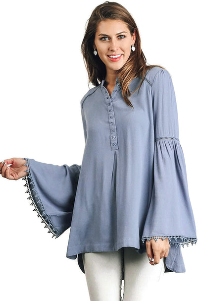 Popover Trumpet Sleeve Blouse, Denim
