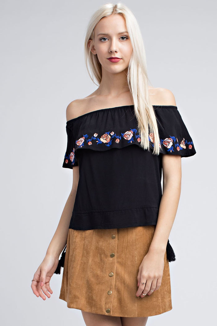 Strapless Embroidered Ruffle Top, Black