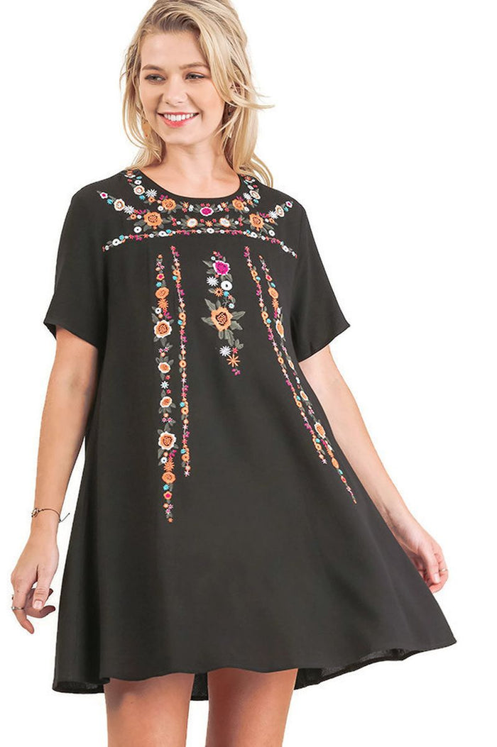 Floral Embroidered Short Sleeve Dress, Black